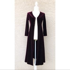 VINTAGE 90's Velvet Duster Jacket Dress Purple